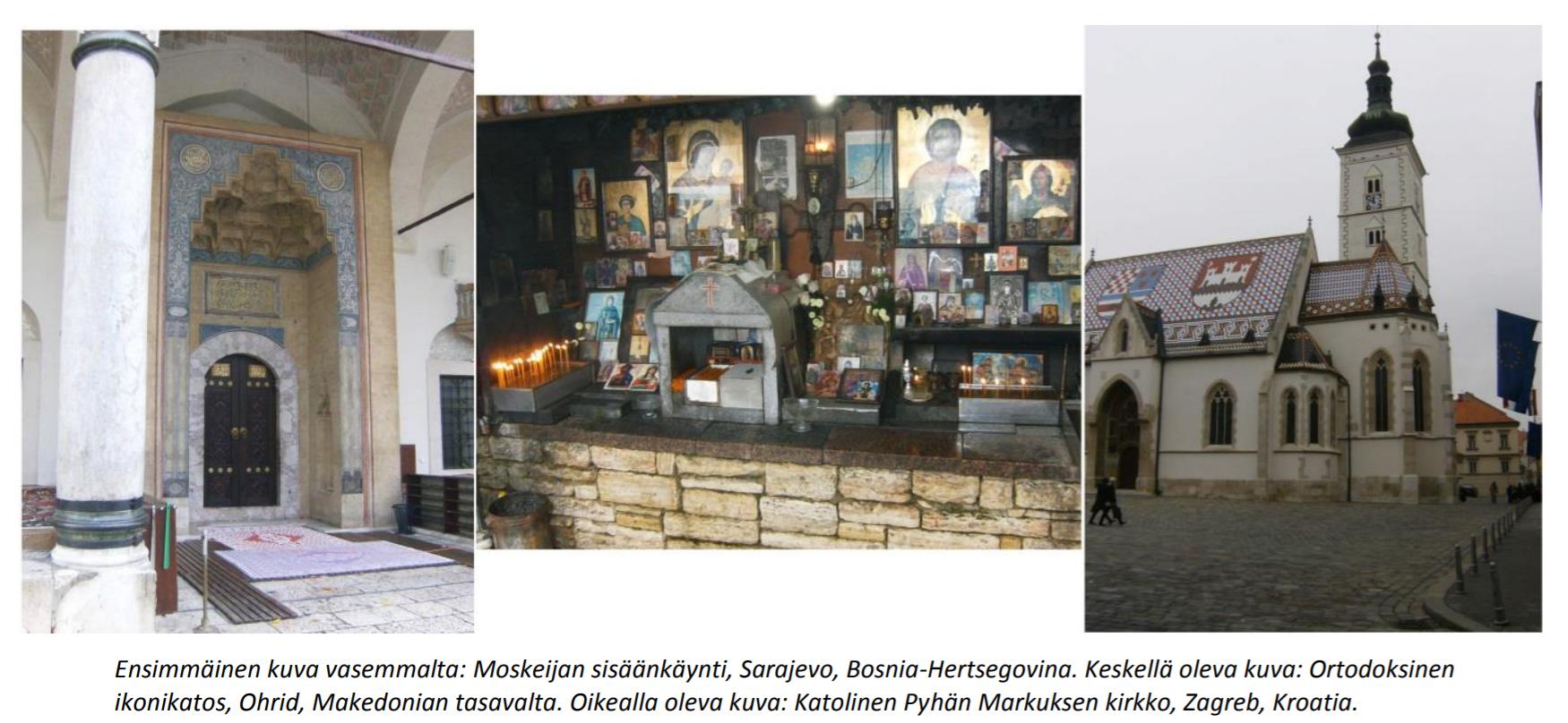 kuvituskuvakollaasi, moskeijan sisäänkäynti, ikoneja, katolinen kirkko